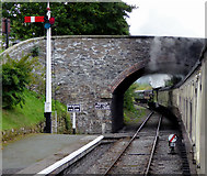 SJ1143 : Bridge and train at Carrog Station in Denbighshire by Roger  Kidd