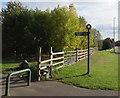 SJ6452 : Path signpost alongside the B5341 Waterlode, Nantwich by Jaggery