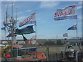 NU2232 : Coastal Northumberland : Brexit Flags, North Sunderland Harbour, Seahouses by Richard West