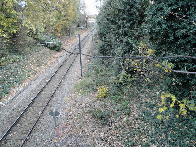 Railway line taken from the bridge in Brentwood Road