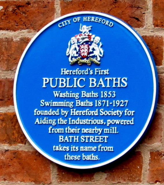 Public baths blue plaque, Kyrle Street, Hereford