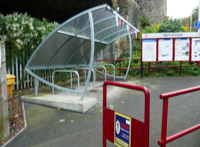 Cycle shelter at Mytholmroyd station