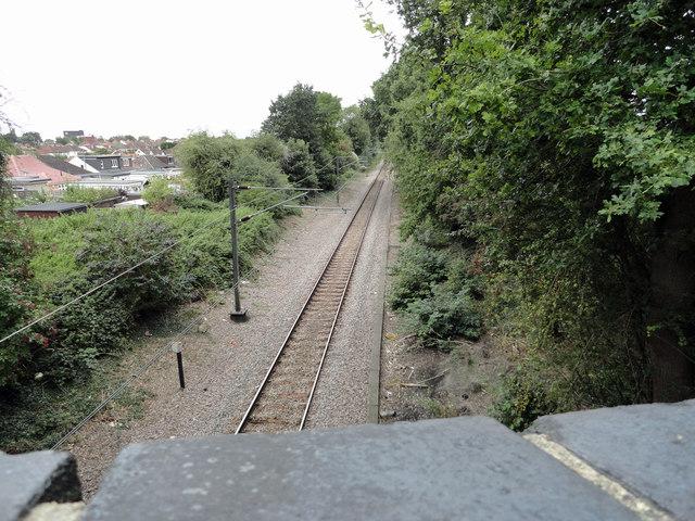 The Romford to Upminster line heading towards Romford
