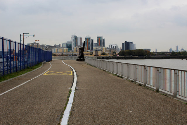 Thames Path beside the O2 Arena