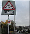 ST1368 : Two warning signs, Little Moors Hill, Cadoxton, Barry  by Jaggery