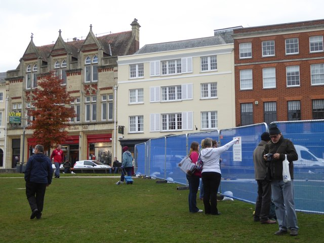 Cathedral Green, Exeter, with security screens during demolition work