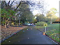 SJ8846 : Hanley Park: path and South car park by Jonathan Hutchins