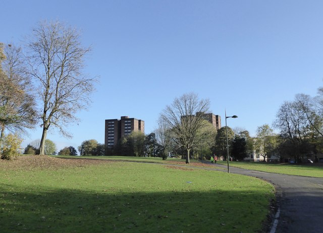 Hanley Park: view to flats off Ridgway Road