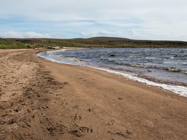 Loch Gress beach with deer tracks