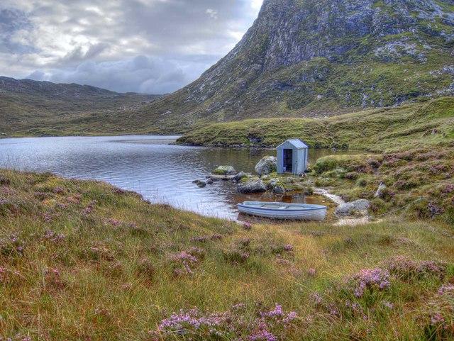 Boat and fishing hut on Loch Uladail