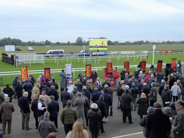 Bookmakers near the winning post at Huntingdon Racecourse