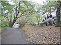 TG1017 : Weston Longville, dinosaur trail b by Mike Faherty