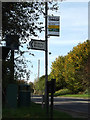 TL1614 : Bus stop sign  on the B653 Lower Luton Road by Geographer