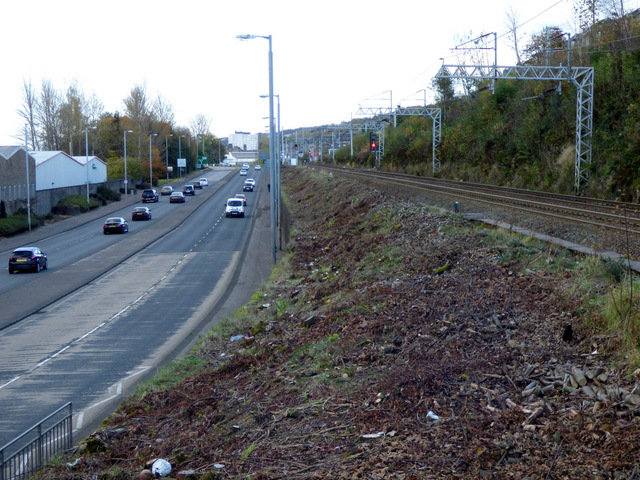 Road and rail at Port Glasgow