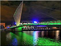 SJ8097 : MediaCity Footbridge in Green by David Dixon