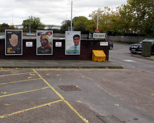 Three adverts facing Gloucester railway station