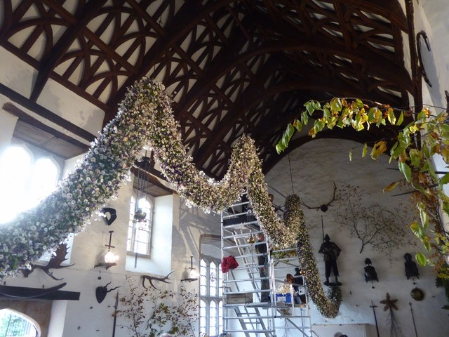 Hanging the Christmas garland in the Great Hall, Cotehele, 2016