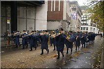 TQ3281 : View of trombonists in the Lord Mayor's Parade in Gresham Street by Robert Lamb