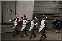 TQ3281 : View of soldiers in the Lord Mayor's Parade from Gresham Street #8 by Robert Lamb
