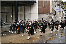 TQ3281 : View of bagpipers in the Lord Mayor's Parade from Gresham Street #2 by Robert Lamb