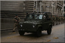 TQ3281 : View of an army jeep in the Lord Mayor's Parade from Gresham Street by Robert Lamb