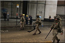 TQ3281 : View of soldiers in the Lord Mayor's Parade from Gresham Street #13 by Robert Lamb