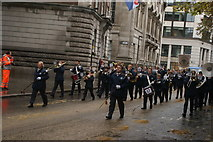TQ3281 : View of trombonists in the Lord Mayor's Parade in Gresham Street #2 by Robert Lamb