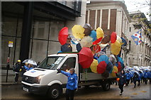 TQ3281 : View of umbrellas on a van in the Lord Mayor's Parade from Gresham Street by Robert Lamb