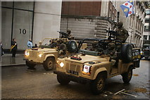 TQ3281 : View of a pair of army jeeps in the Lord Mayor's Parade from Gresham Street by Robert Lamb