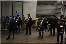 TQ3281 : View of trombonists in the Lord Mayor's Parade in Gresham Street #3 by Robert Lamb