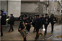 TQ3281 : View of drummers in the Lord Mayor's Parade on Gresham Street #4 by Robert Lamb