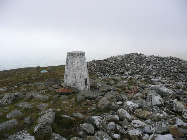 Triangulation pillar on a Bronze-Age cairn on Foeldrygarn