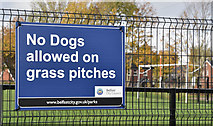 "J3673 : ""No dogs"" sign, Dixon Park, Belfast (November 2016) by Albert Bridge"