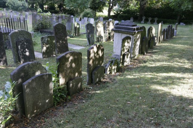 Headstones in a row