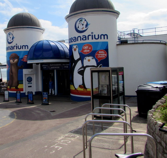 Two BT phoneboxes near the Oceanarium entrance, Bournemouth