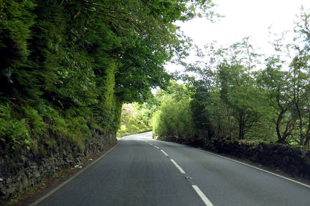 The A496 heading west