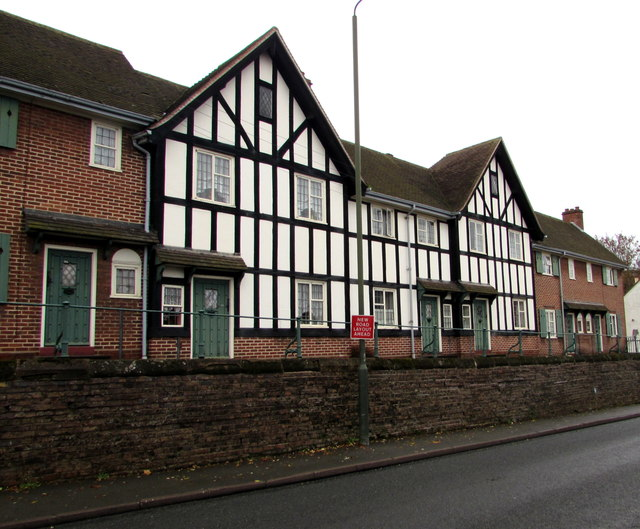 Black and white houses on a brick base, The Holloway, Droitwich