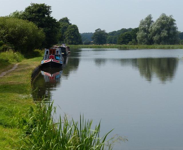 Narrowboats moored at Tixall Wide