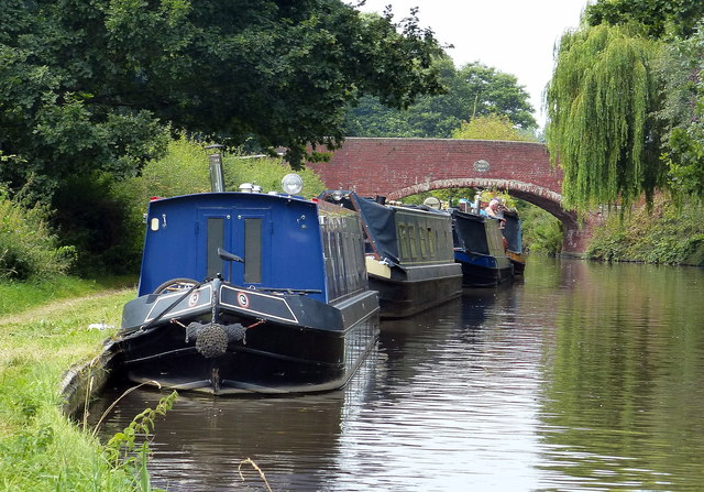 Narrowboats moored next to Tixall Bridge No 106