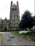 SJ3350 : Tower of St Giles Church, Wrexham by Jaggery