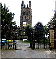 SJ3350 : Ornate gates at the northern entrance to St Giles Church, Wrexham by Jaggery