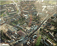 SU0061 : Aerial view of Long Street and Morris Lane, Devizes, Wiltshire c1991 by James Harrison