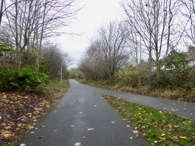 Newcastle-under-Lyme: path junction on cycleway