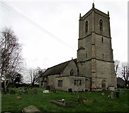 ST6976 : 14th century church tower, Pucklechurch by Jaggery