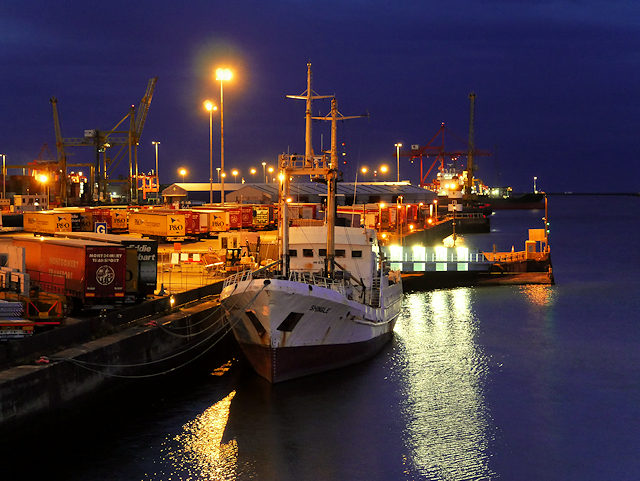 Port of Dublin, North Wall Quay (night view)