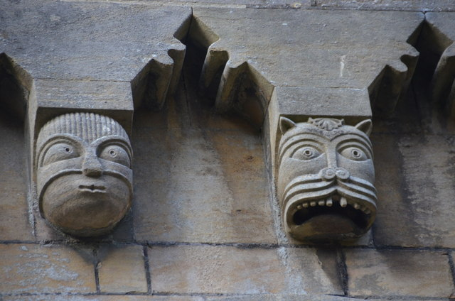 Corbel masks, St Helen's church, Thorney