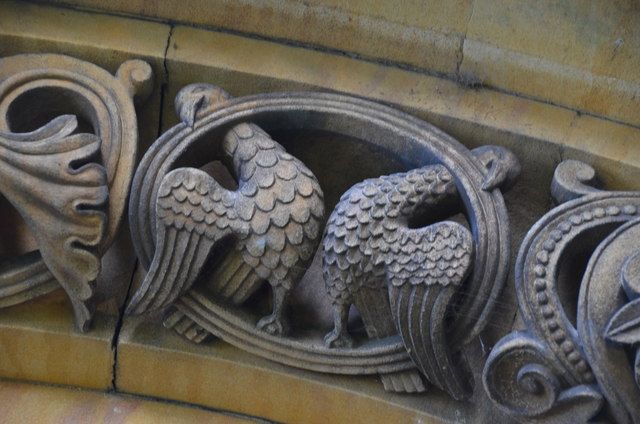 Detail of doorway arch carving, St Helen's church, Thorney