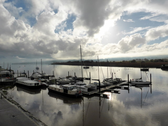 Moored Boats on River Exe at Topsham
