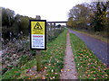 SX9588 : Warning Sign on Exe Valley Way by PAUL FARMER