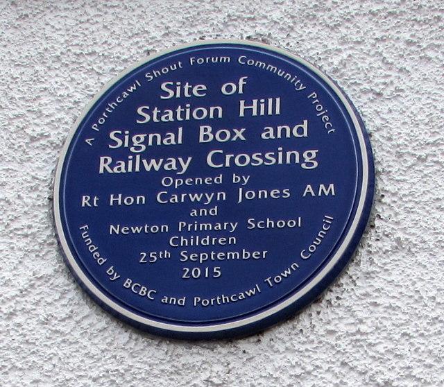 Blue plaque on a wall of the RAFA club, Porthcawl